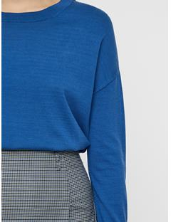 Womens Marion Cotton Silk Sweater Work Blue