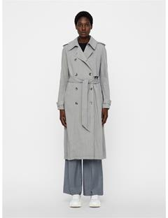 Womens Adalyn Stretch Linen Trenchcoat Soft Ash
