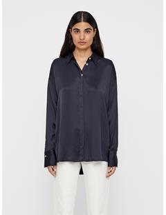 Womens Nicole Liquid Satin Shirt JL Navy