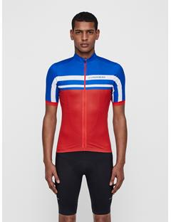 Mens Bike Striped Jersey Deep Red
