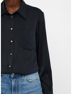 Womens Mallory Washed Silk Shirt Black