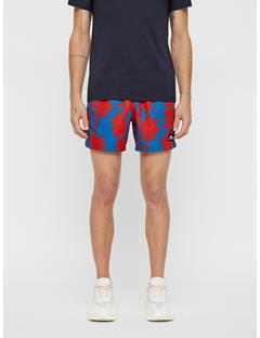 Mens Banks Patterned Swim Trunks Deep Red