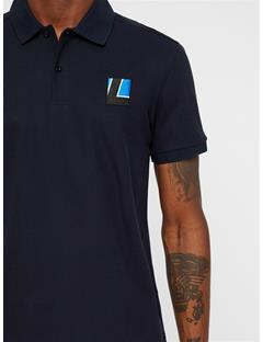 Mens Brand Patch Pique Polo JL Navy