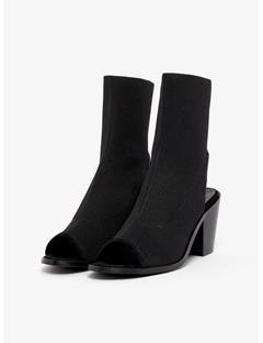 Womens Ribby Heel Black