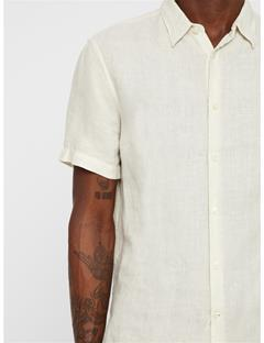Mens Daniel Short Sleeve Linen Shirt Cloud Dancer