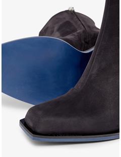 Womens Leather Blocked Heel Shoe Black