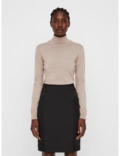 Womens Ava Turtleneck Sweater Oxford Tan