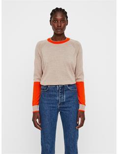 Womens Karla Colorblock Merino Sweater Juicy Orange