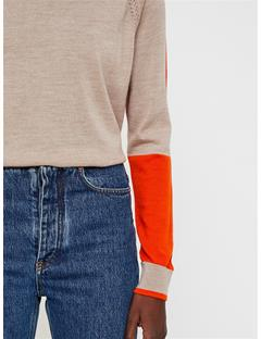Womens Karla Colorblock Merino Sweater Juicy Orange