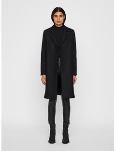 Womens Annie Compact Melton Coat Black