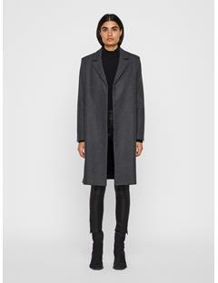 Womens Annie Compact Melton Coat Grey Melange