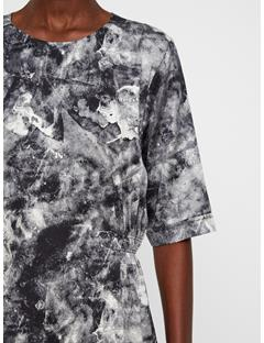 Womens Adele Printed Silk Dress GLACIER GREY