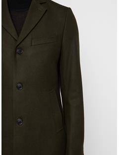 Mens Wolger Compact Melton Coat Forest Green