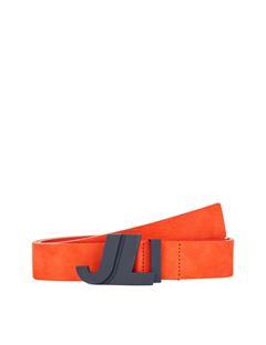 Mens JL Iconic Brushed Leather Belt Juicy Orange