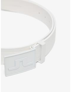 Mens Logo White Leather Belt White