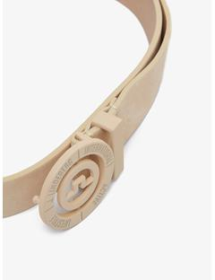 Womens Beveled Bridge Brushed Leather Belt Beige