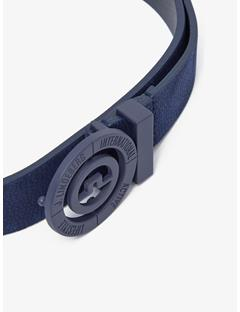 Womens Beveled Bridge Brushed Leather Belt JL Navy