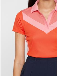 Womens Lilly TX Jacquard Polo Racing Red