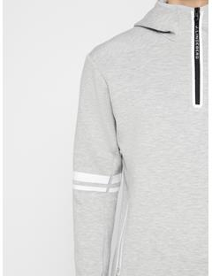 Mens Logo Tech Sweat Hoodie Stone Grey Melange