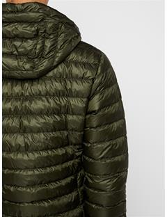 Mens Hooded Light Down Jacket Forest Green