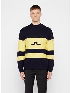 Mens Bold Stripe Wool Sweater JL Navy