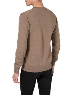 Mens M Bridge V-Neck Fine Merino Sweater Beige
