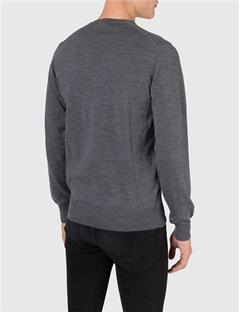 Mens M Bridge V-Neck Fine Merino Sweater Grey Melange