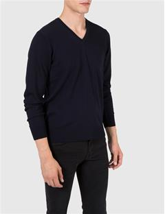Mens M Bridge V-Neck Fine Merino Sweater  Navy