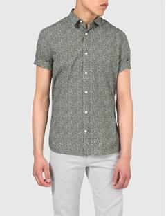 Mens Dani SS-CL Season Print Shirt Military Green