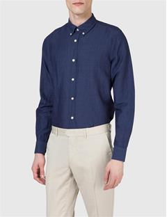 Mens Dani Cotton Linen Shirt Navy