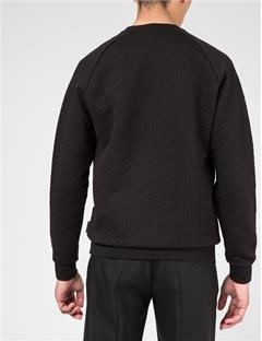 Mens Chad Quilt Jersey Sweater Black