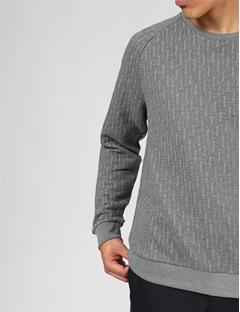 Mens Chad Quilt Jersey Sweater Grey Melange