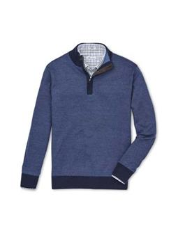 CROWN BIRDSEYE QUARTER ZIP WITH COVERED PLACKET SWEATER