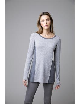 MIXED YARN LONG SLEEVE CREWNECK COLORBLOCK SWING SWEATER