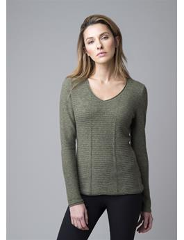 NOVELTY LONG SLEEVE V-NECK TEXTURED CASHMERE SWEATER