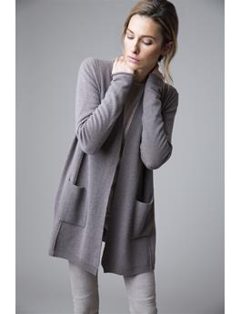 LONG RIB TRIM LONG SLEEVE CASHMERE CARDIGAN