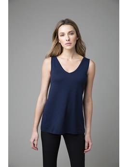 WORSTED BACK TO FRONT SLEEVELESS CASHMERE TANK