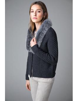 FUR TRIM CABLE CARDIGAN