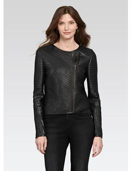 LEATHER STRIP ZIP JACKET