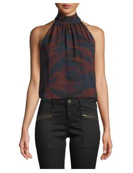 EROLA B SLEEVELESS CAMO PRINT SILK TOP