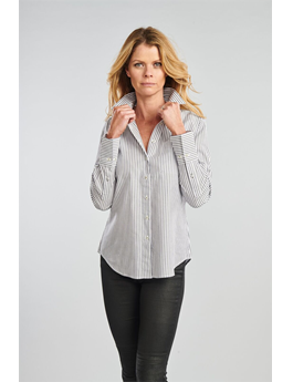 THE IVY JET STRIPE PINPOINT  BUTTON DOWN