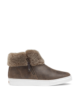 LEXI SIDE ZIP SUEDE SHEARLING SNEAKER