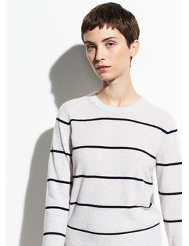 STRIPED OVERLAY CASHMERE CREW
