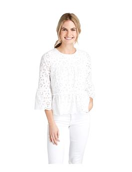 WOMENS EYELET TIERED TOP