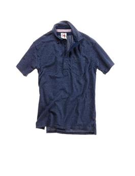 STRIPE PIQUE SLOT BUTTON POLO