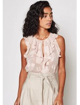 EDDISON FLORAL RUFFLED TOP