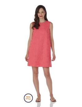 Melody Dress  Embroidery - Coral
