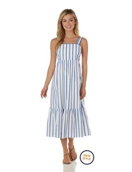 Everly Dress  Cotton Stripe - Ivory/Blue