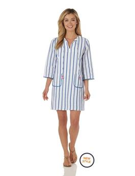 Deanna Dress  Cotton Stripe - Ivory/Blue