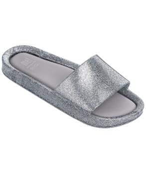 MEL BEACH SLIDE Silver Glass Glitter